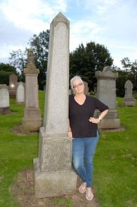 Holly at monument in East Wemyss Cemetery